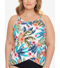 swim solutions plus size montego bay printed underwire tankini top, created for macy's women's swimsuit