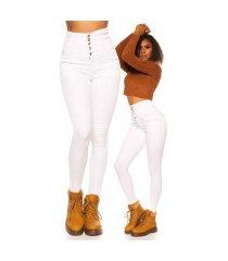 sexy 5 zak hoge taille skinny jeans wit