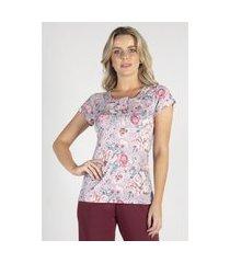 pijama capri floral bordô feminino - toque sleepwear