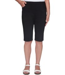 alfred dunner petite classics stretch pull-on bermuda shorts