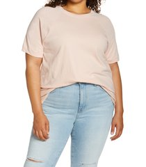 plus size women's madewell softfade raglan cotton t-shirt, size 1x - pink