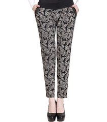 pantaloni donna elastici a vita alta con patchwork stampati etnici