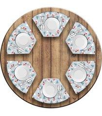 jogo americano love decor para mesa redonda wevans bonecos de neve kit com 6 pçs