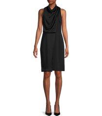 halston women's cowlneck draped dress - black - size 4