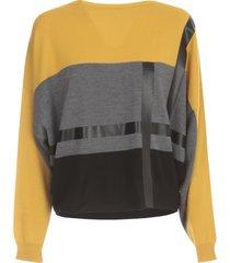 pierantoniogaspari short boat neck sweater tricolour