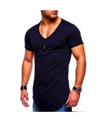 camiseta masculina long line camisa oversized swag frozini elastano azul marinho