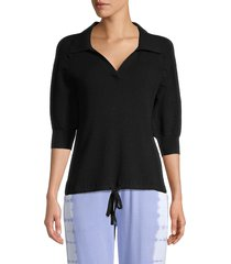 design history women's knit puff-sleeve top - black - size m