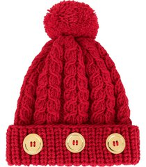 0711 pompom knit beanie - red