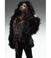 silver fox fur jacket with hood winter coat outwear plus size luxury fur outwear
