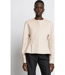 proenza schouler double face nipped waist jacket 00115 oatmeal/white 6