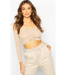ribbed ruched crop top, stone