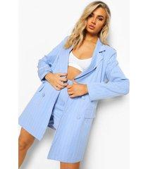 oversized long line blazer met krijtstrepen, powder blue