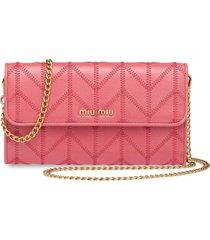miu miu logo plaque wallet with shoulder strap - pink