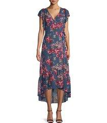floral-print ruffled high-low dress