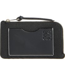women's loewe coin & card leather zip pouch - black