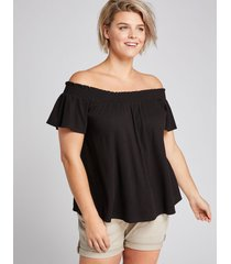 lane bryant women's smocked off-the-shoulder top 26/28 black