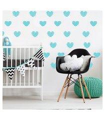 adesivo de parede quartinhos infantil coraçáo azul chevron
