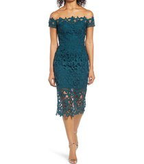 women's chi chi london anna lace off the shoulder sheath dress, size 6 - blue/green