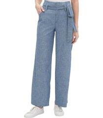 pantalon wide leg lino blend azul gap