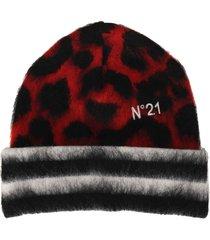 n21 leopard-print beanie