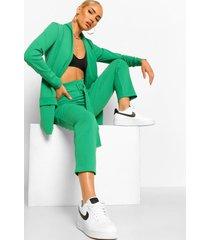getailleerde blazer en broek met ceintuur set, emerald