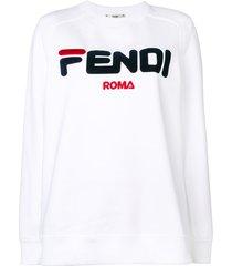fendi embroidered logo sweatshirt - white