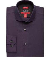 awearness kenneth cole awear-tech burgundy textured slim fit dress shirt