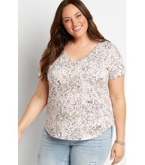 maurices plus size womens animal print drop shoulder classic tee white