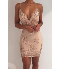 women backless sequins ladies club plunge deep v neck choker bodycon dress