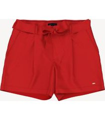 tommy hilfiger women's essential solid tie-waist short fiery red - 12