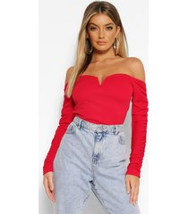crepe off the shoulder ruched sleeve top, red