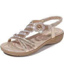sandalias rhinestone estampadas para mujer-oro