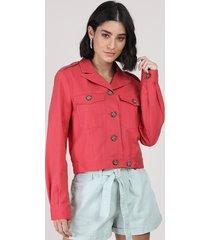 jaqueta de sarja feminina cropped com bolsos rosa escuro