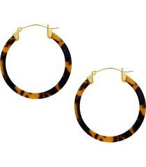 sterling forever women's tortoise-print hoop earrings