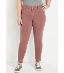 maurices plus size jeans womens jeans dark pink high rise double button jegging made with repreve brown denim