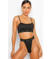 woman string met elastische band, zwart