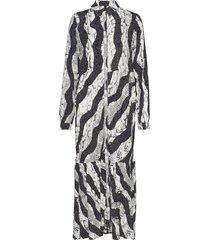 pzsnake l/s dress maxiklänning festklänning multi/mönstrad pulz jeans
