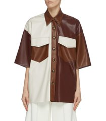 'roque' patchwork vegan leather shirt