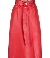alysi belted leather skirt - red