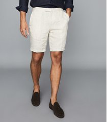 reiss gosnold - linen tailored shorts in natural, mens, size 36
