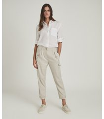 reiss bria - linen blend cargo trousers in, womens, size 14