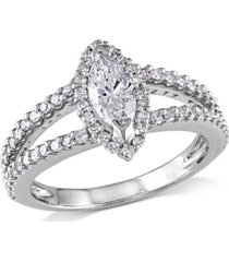 certified diamond (3/4 ct. t.w.) marquise and round-shape engagement ring in 14k white gold