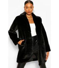 pluizige faux fur jas, zwart