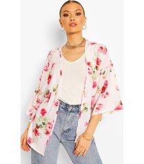 floral print kimono, cream