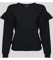blusão de moletom feminino babados decote redondo preto