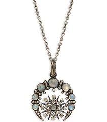 black rhodium-plated sterling silver, labradorite & diamond pendant necklace