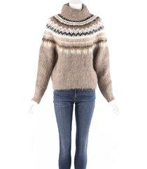 celine brown fair isle knit alpaca wool turtleneck sweater brown sz: xs