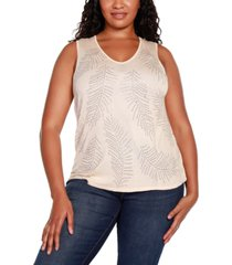 belldini black label plus size v-neck sweater tank with all over rhinestone detailing