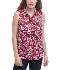 tommy hilfiger cotton hamilton floral-print sleeveless shirt