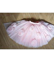 flower circle princess tulle skirt high waist handmade blush pink midi skirts